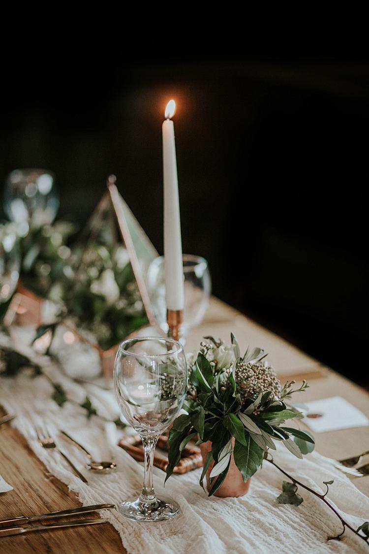 Candle Stick Decor Lighting Modern Botanical Copper Geometric Wedding Ideas http://lolarosephotography.com/