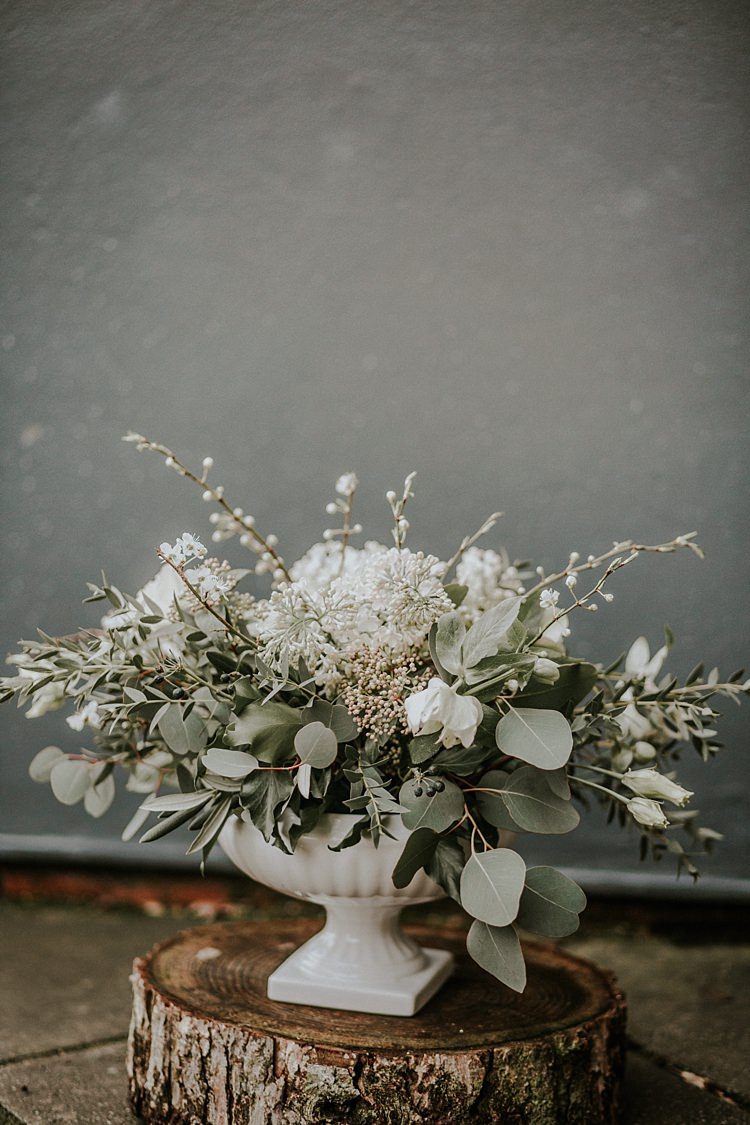 Flowers Whimsical Wild Greenery White Blooms Urn Modern Botanical Copper Geometric Wedding Ideas http://lolarosephotography.com/