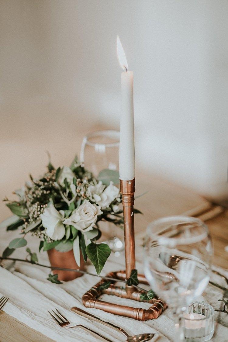 Pipe Candle Stick Lighting Decor Modern Botanical Copper Geometric Wedding Ideas http://lolarosephotography.com/