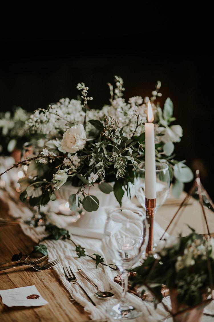 Urn Flowers Centrepiece Decor Greenery Foliage Modern Botanical Copper Geometric Wedding Ideas http://lolarosephotography.com/