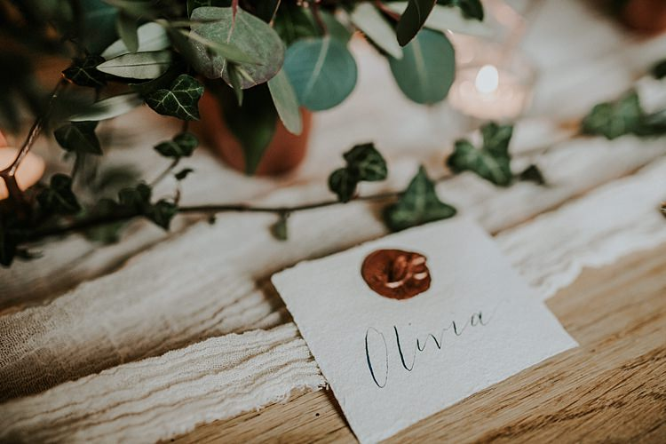Calligraphy Place Name Card Modern Botanical Copper Geometric Wedding Ideas http://lolarosephotography.com/