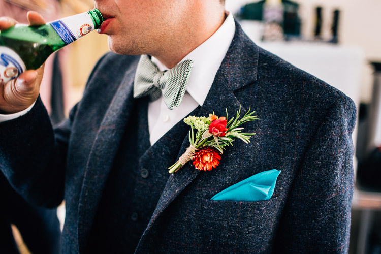 Bow Tie Groom Buttonhole Rustic Relaxed Seasonal Floral Barn Wedding https://www.faircloughphotography.co.uk/