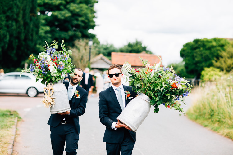 Milk Urn Flowers Rustic Relaxed Seasonal Floral Barn Wedding https://www.faircloughphotography.co.uk/