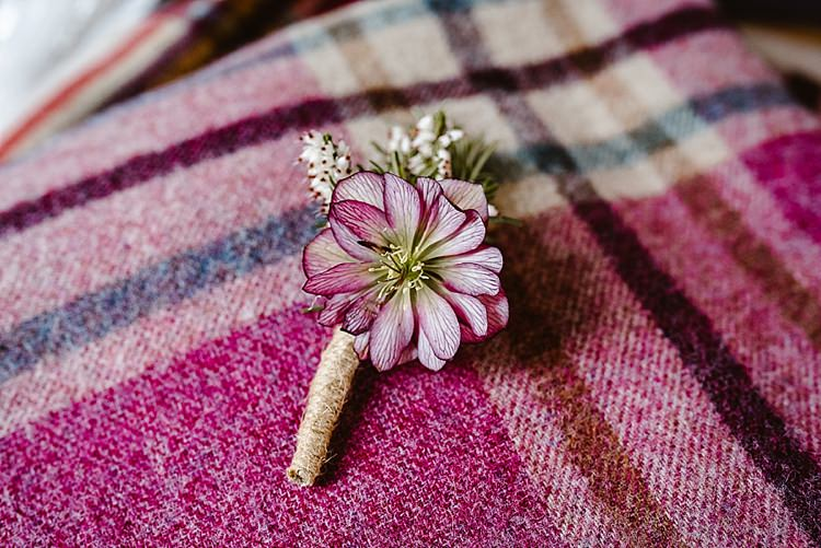 Buttonhole Hellebores Blossom Foliage Beautiful Countryside Wedding Ideas Inspiration http://www.georginabrewster.com/