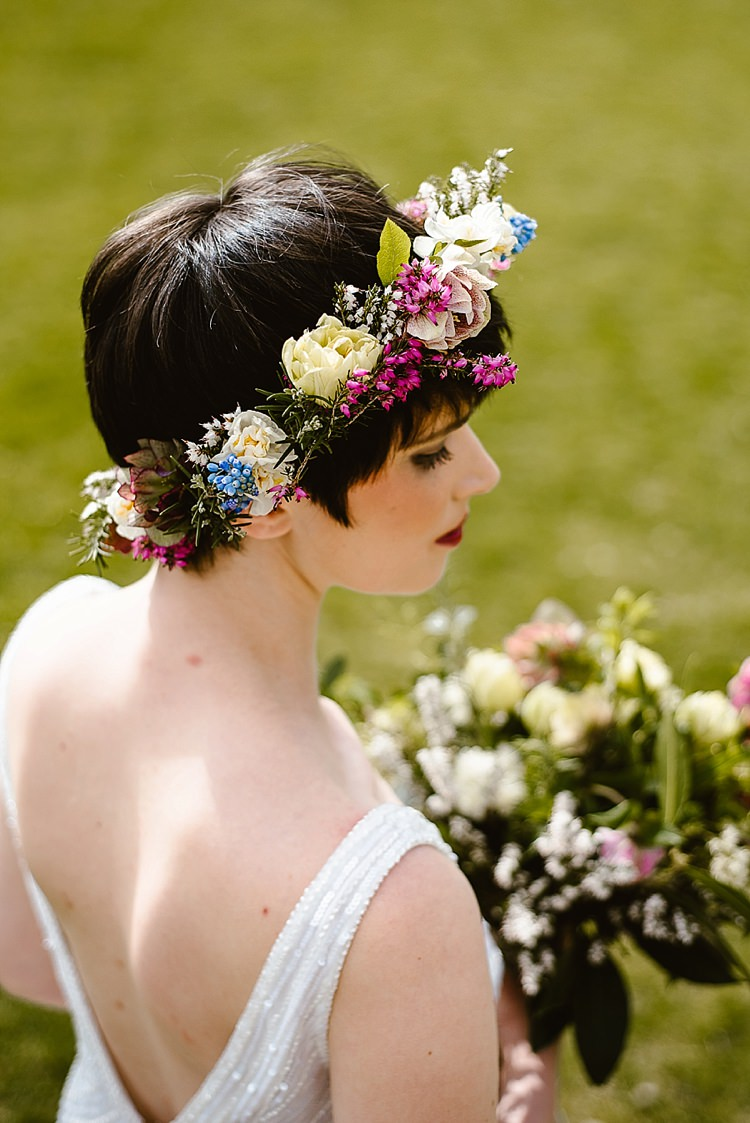 Flower Crown Bride Bridal Pink Blue Cream Beautiful Countryside Wedding Ideas Inspiration http://www.georginabrewster.com/