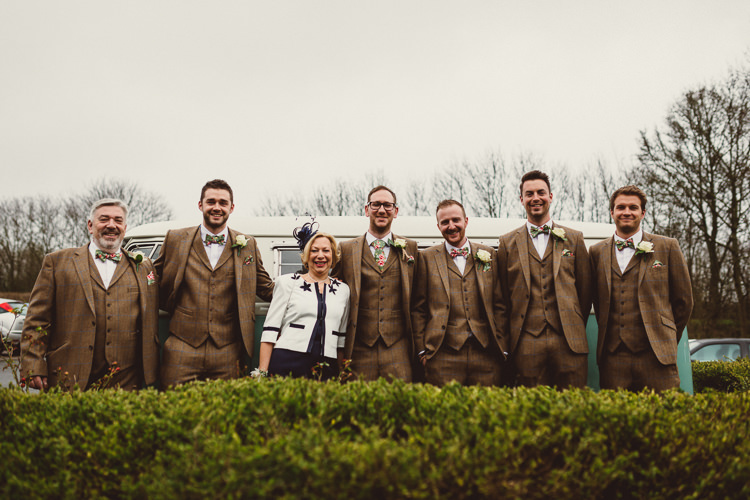 Brown Tweed Suits Groom Groomsmen Floral Bow Ties Rustic Homemade Country Tipi Wedding http://www.pottersinstinctphotography.co.uk/