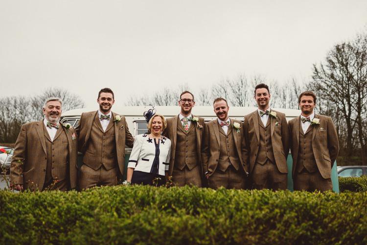Brown Tweed Suits Groom Groomsmen Floral Bow Ties Rustic Homemade Country Tipi Wedding http://www.pottersinstinctphotography.co.uk/