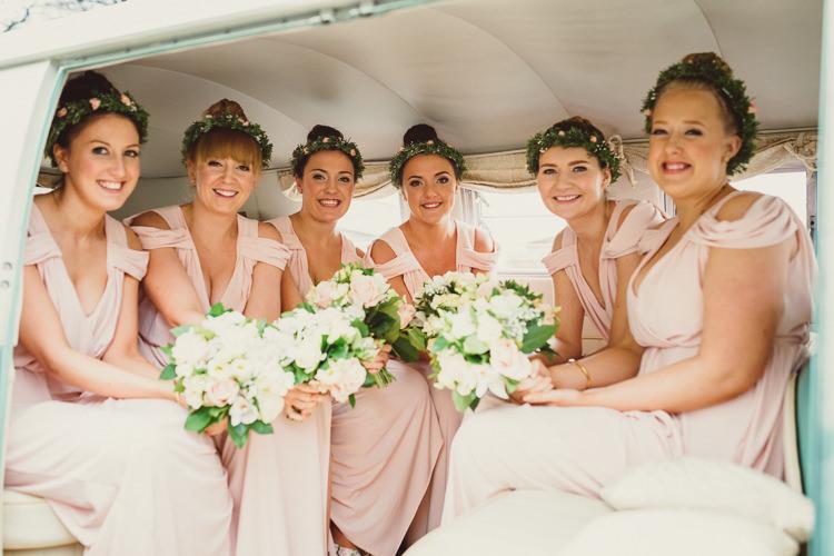 Pink Cold Shoulder Bridesmaid Dresses Flower Crowns Rustic Homemade Country Tipi Wedding http://www.pottersinstinctphotography.co.uk/