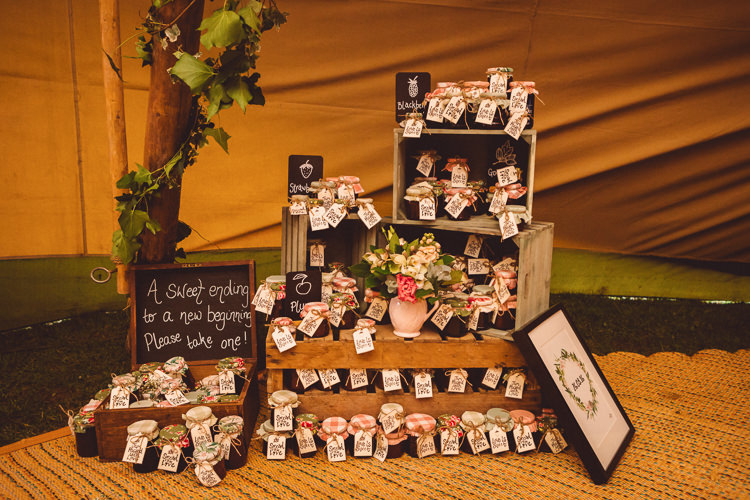 Jam Favours Crates Decor Rustic Homemade Country Tipi Wedding http://www.pottersinstinctphotography.co.uk/