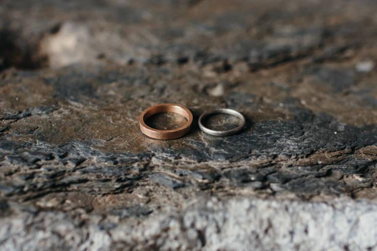 Rose Gold Ring Bands Minimal Botanical Copper Greenery Wedding http://www.frecklephotography.co.uk/