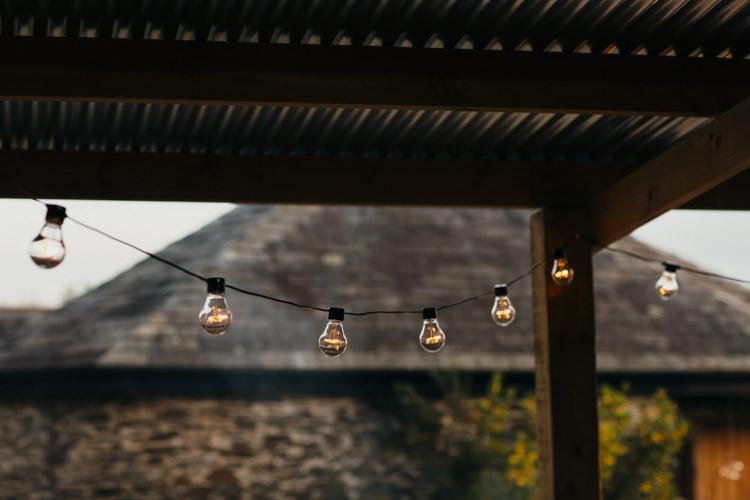 Festoon Lights Minimal Botanical Copper Greenery Wedding http://www.frecklephotography.co.uk/