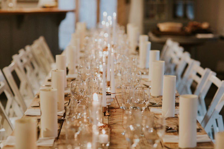 Candles Decor Long Table Minimal Botanical Copper Greenery Wedding http://www.frecklephotography.co.uk/