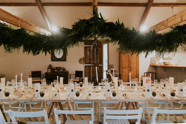 Swag Garland Hanging Ceiling Decor Foliage Minimal Botanical Copper Greenery Wedding http://www.frecklephotography.co.uk/