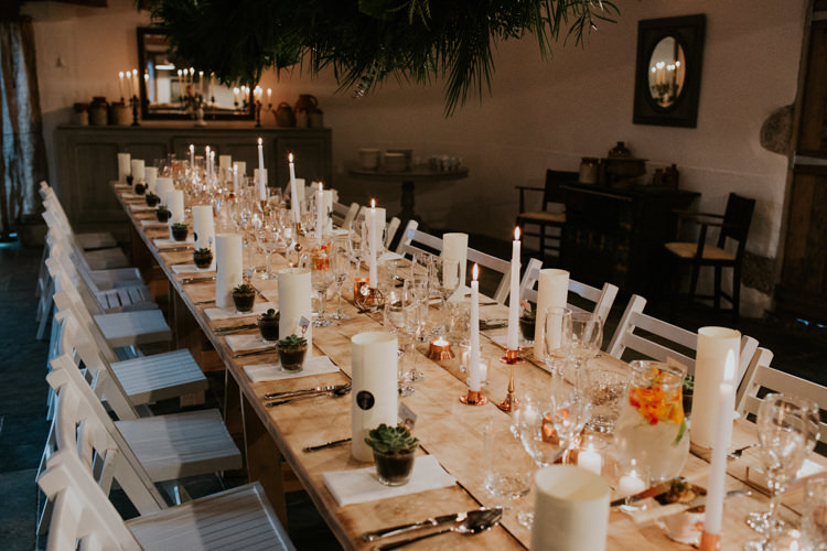 Candles Long Table Decor Minimal Botanical Copper Greenery Wedding http://www.frecklephotography.co.uk/