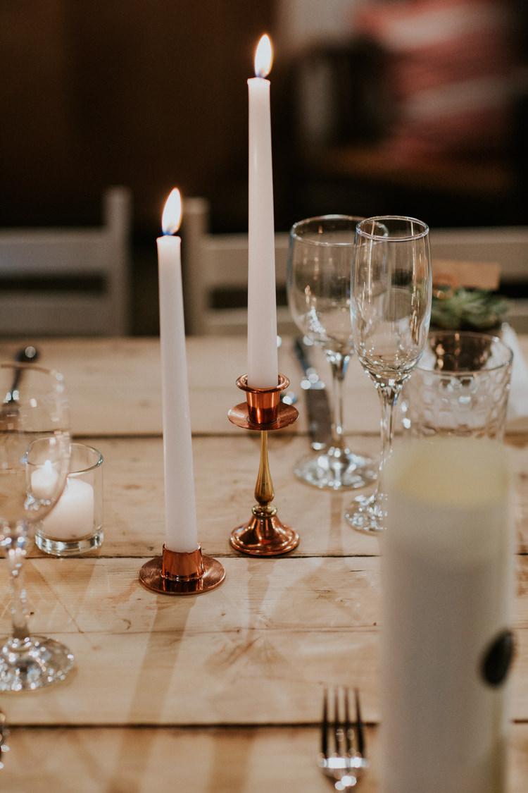 Candle Sticks Rose Gold Minimal Botanical Copper Greenery Wedding http://www.frecklephotography.co.uk/