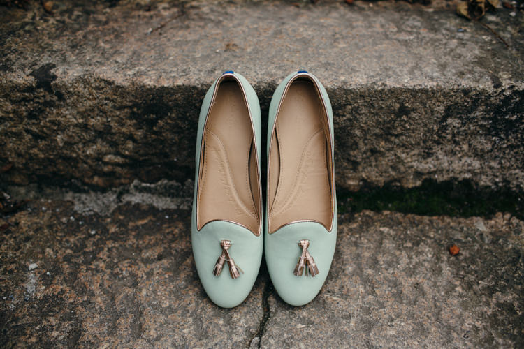 Mint Green Pumps Flats Bride Bridal Tassels Minimal Botanical Copper Greenery Wedding http://www.frecklephotography.co.uk/