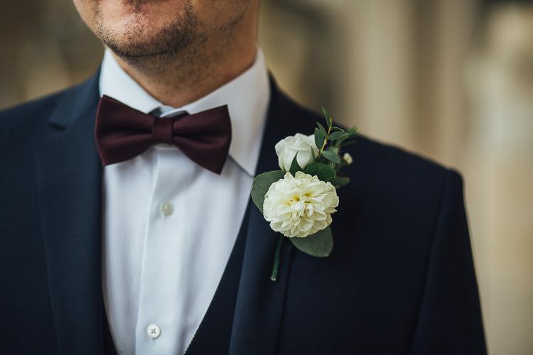 Cream Dahlia Buttonhole Groom Bow Tie Stylish Lakeside City Wedding http://www.struthphotography.com/