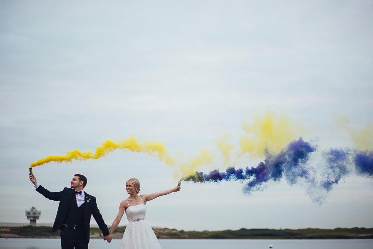Smoke Bomb Bride Groom Portraits Stylish Lakeside City Wedding http://www.struthphotography.com/