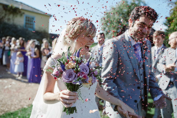 Confetti Throw Bride Groom Pretty Purple Pastels Country Wedding http://www.nataliejweddings.com/