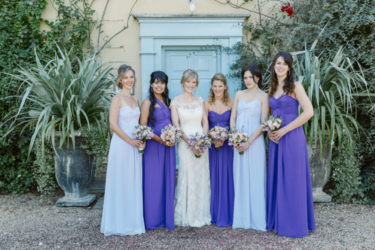 Mismatched Long Maxi Dresses Bridesmaids Pretty Purple Pastels Country Wedding http://www.nataliejweddings.com/