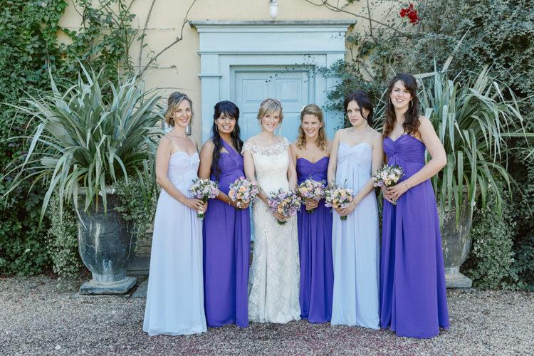 Mismatched Long Maxi Dresses Bridesmaids Pretty Purple Pastels Country Wedding http://www.nataliejweddings.com/