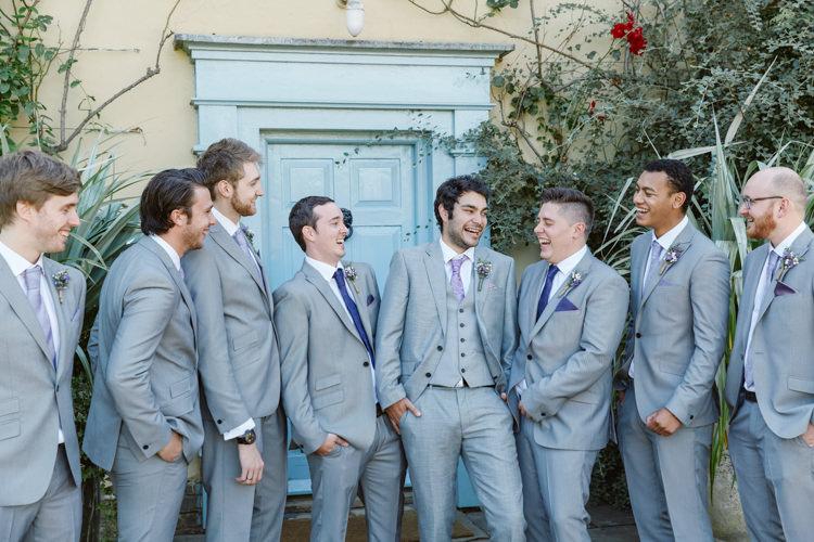 Grey Suits Groom Groomsmen Pretty Purple Pastels Country Wedding http://www.nataliejweddings.com/