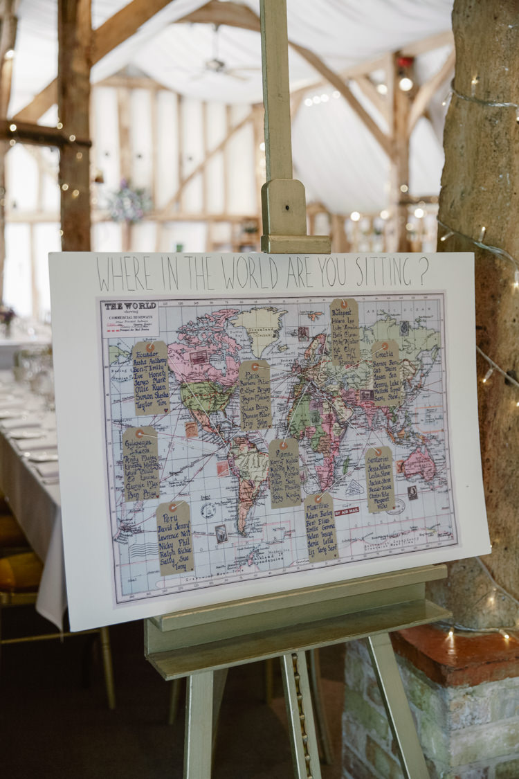Travel Map Seating Plan Table Chart Pretty Purple Pastels Country Wedding http://www.nataliejweddings.com/