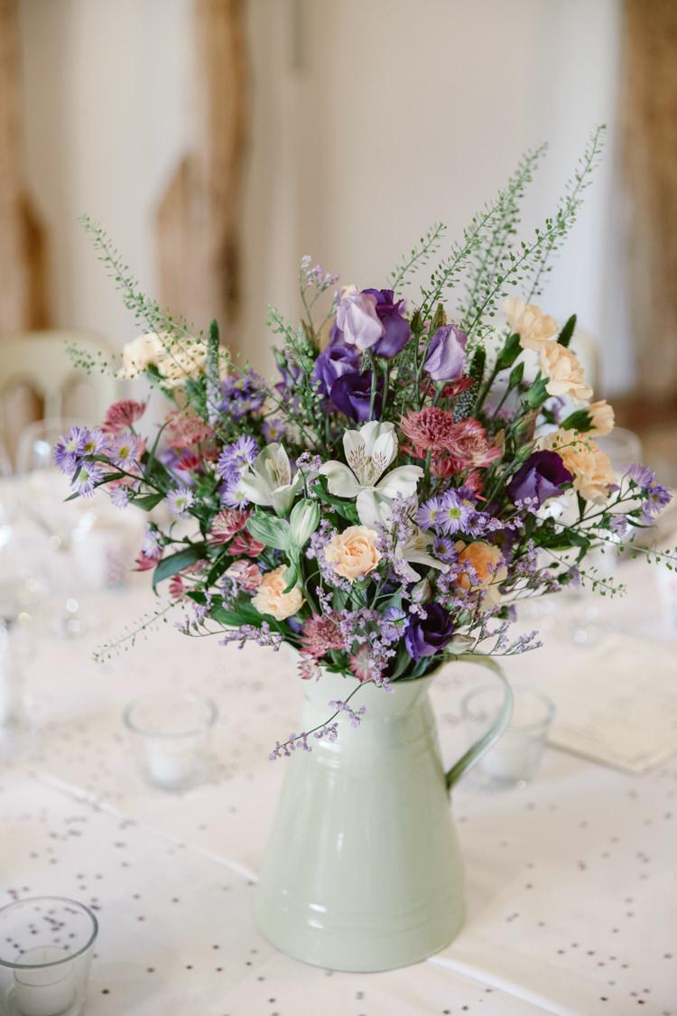 Jug Centrepiece Flowesr Table Roses Pretty Purple Pastels Country Wedding http://www.nataliejweddings.com/