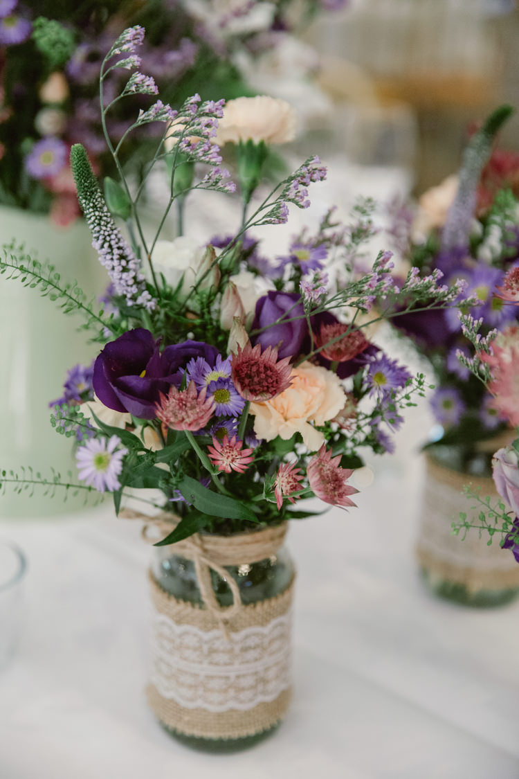 Jar Flowers Hessian Lace Burlap Pretty Purple Pastels Country Wedding http://www.nataliejweddings.com/
