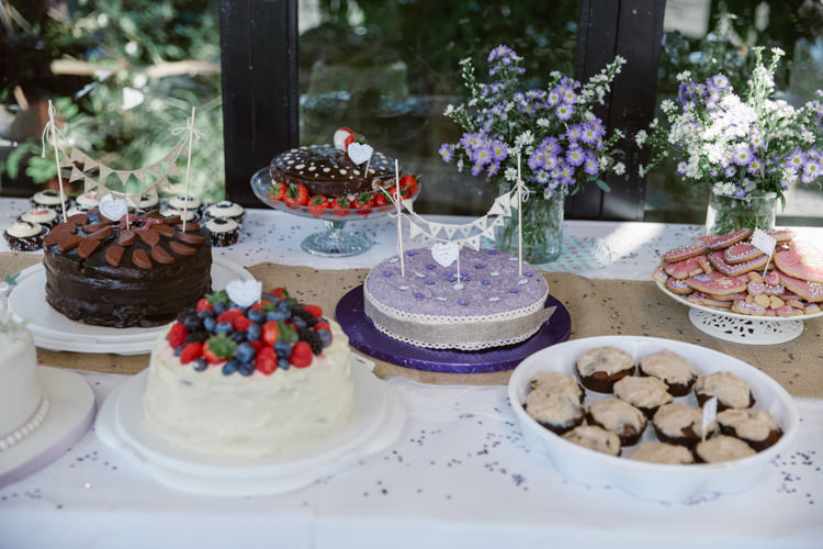 Cake Bake Off Table Dessert Pretty Purple Pastels Country Wedding http://www.nataliejweddings.com/
