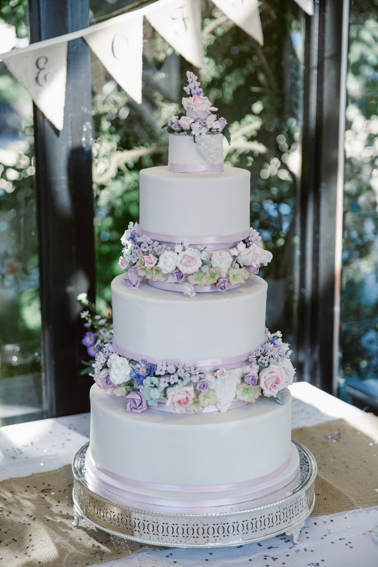 Flower Floral Cake Traditional Iced Pretty Purple Pastels Country Wedding http://www.nataliejweddings.com/