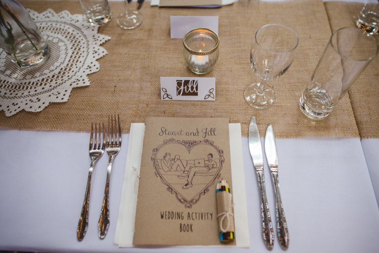 Guest Activity Book Place Name Setting Table Decor Crafty Fun Personal Arts Centre Wedding http://www.sophieduckworthphotography.com/
