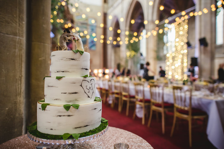 Silver Birch Tree Bark Cake Crafty Fun Personal Arts Centre Wedding http://www.sophieduckworthphotography.com/
