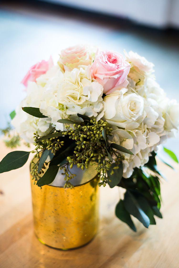Bouquet Gold Jar Romantic Industrial Studio Loft Georgia Wedding http://krisandraevans.com/