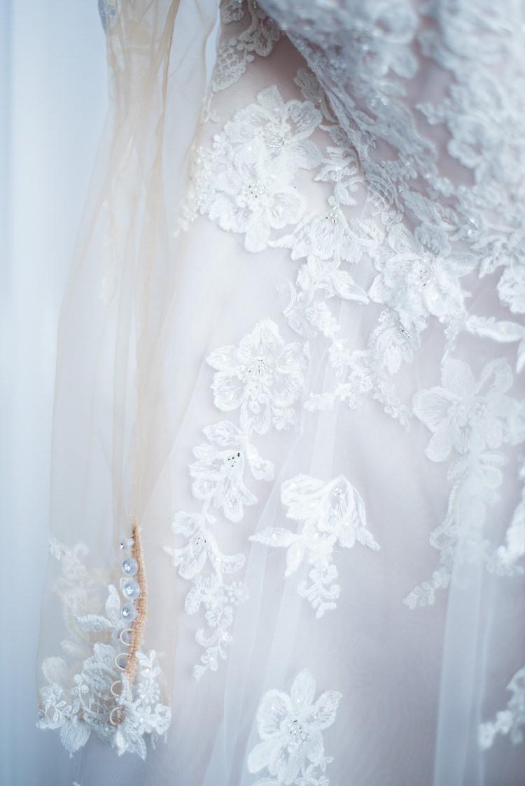 Bride Dress Lace Detail Romantic Industrial Studio Loft Georgia Wedding http://krisandraevans.com/