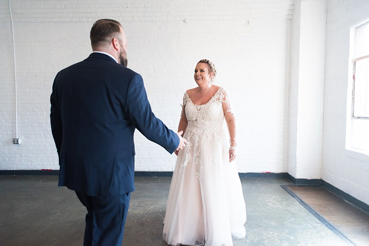 Bride Groom First Look Romantic Industrial Studio Loft Georgia Wedding http://krisandraevans.com/