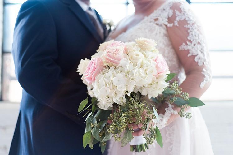 Bride Groom Bouquet Hydrangeas Roses Romantic Industrial Studio Loft Georgia Wedding http://krisandraevans.com/