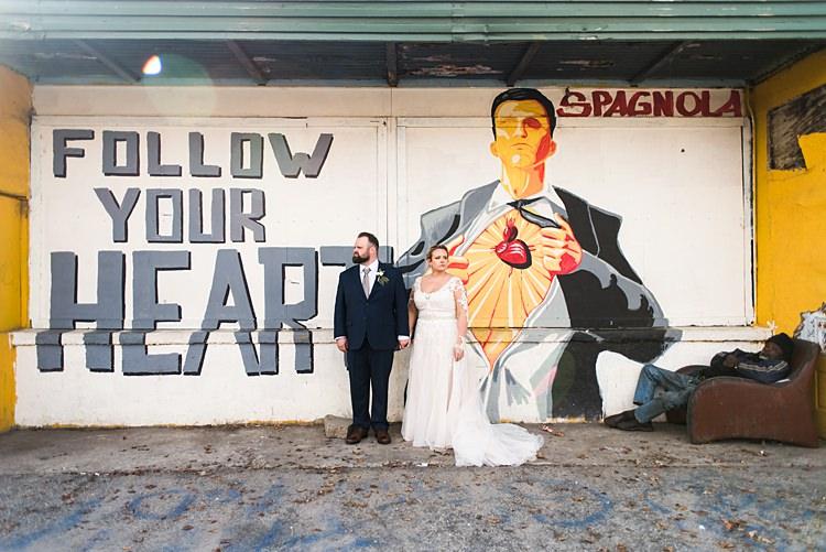 Art Poster Bride Groom Handholding Romantic Industrial Studio Loft Georgia Wedding http://krisandraevans.com/