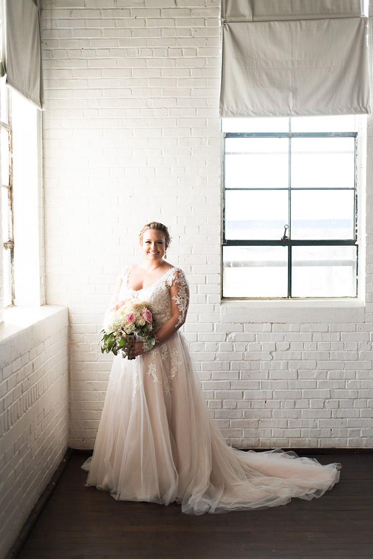 Bride Beautiful Blush Dress Lace Romantic Industrial Studio Loft Georgia Wedding http://krisandraevans.com/