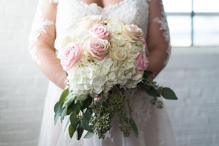 Bouquet Roses Hydrangeas Romantic Industrial Studio Loft Georgia Wedding http://krisandraevans.com/