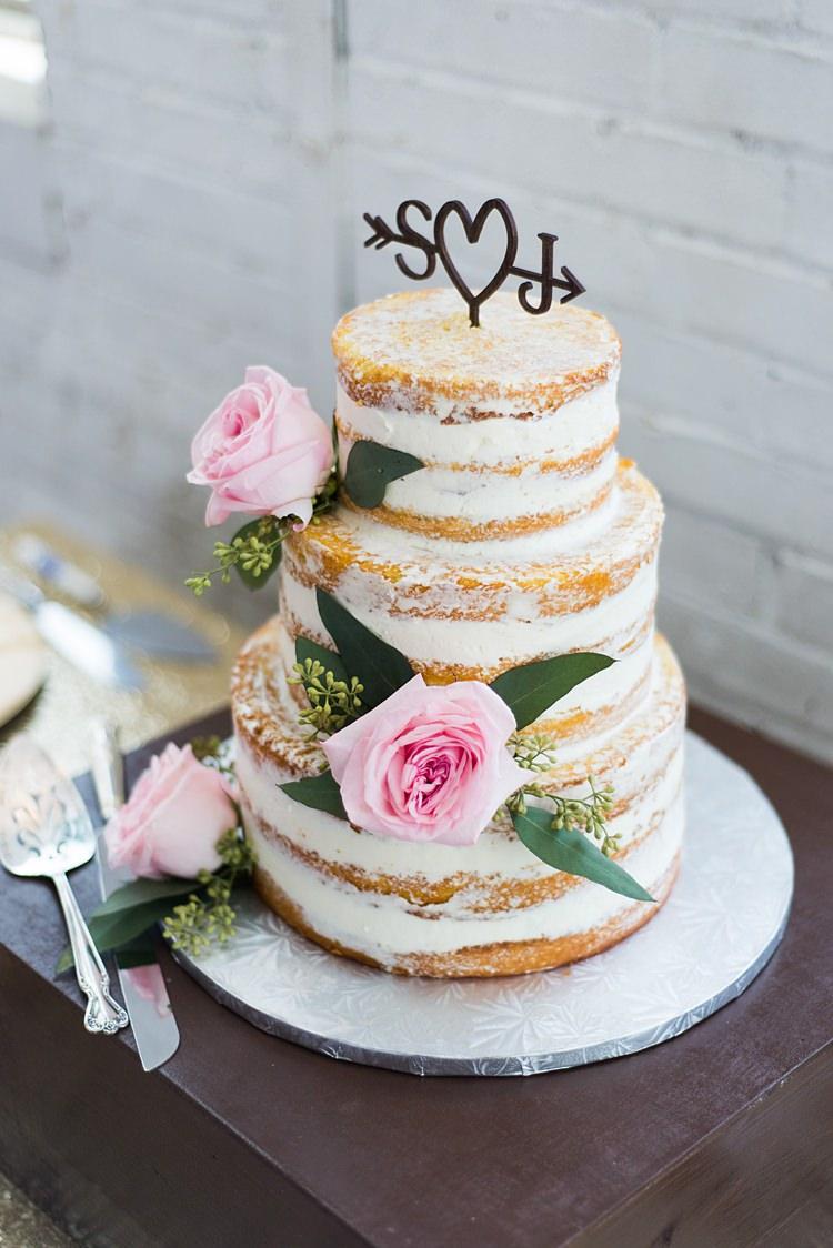 Naked Cake Romantic Industrial Studio Loft Georgia Wedding http://krisandraevans.com/