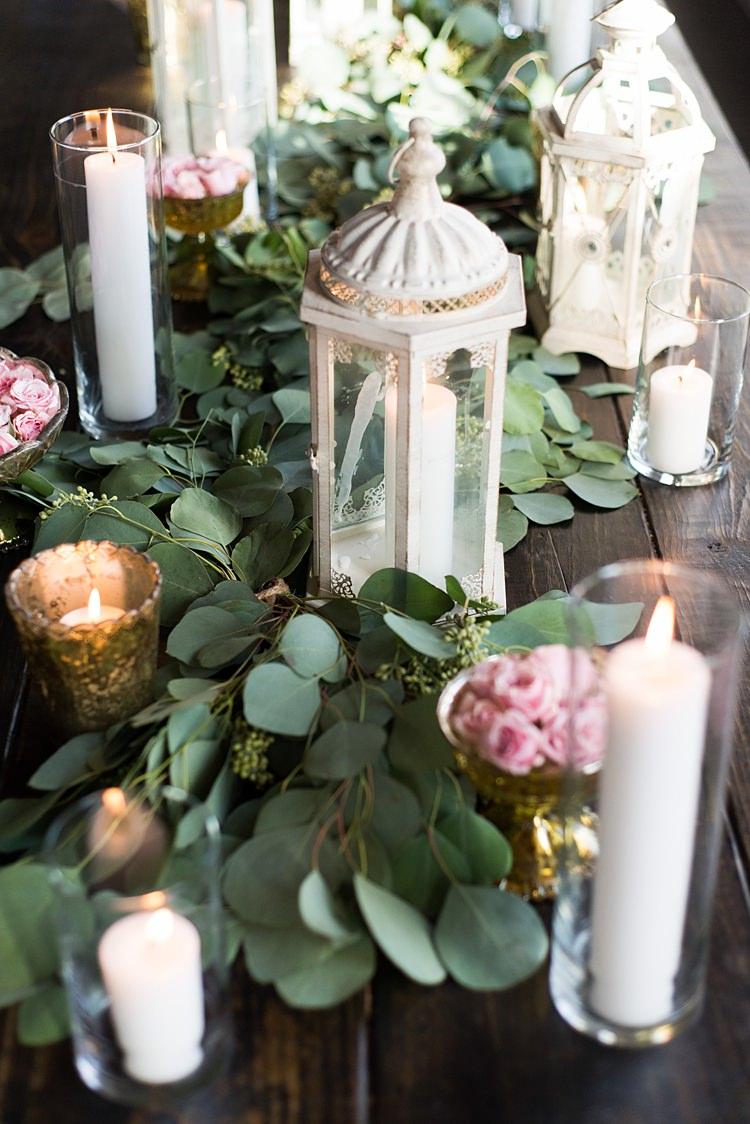 Lantern Candles Greenery Decoration Romantic Industrial Studio Loft Georgia Wedding http://krisandraevans.com/