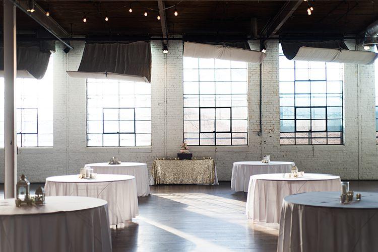Tables Gold Lanterns Romantic Industrial Studio Loft Georgia Wedding http://krisandraevans.com/