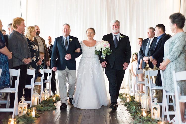 Bride Aisle Father of Bride Romantic Industrial Studio Loft Georgia Wedding http://krisandraevans.com/