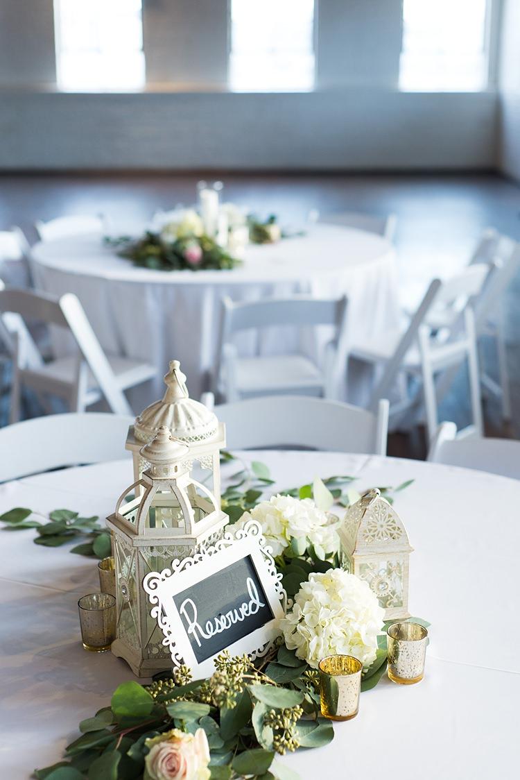 Table Lantern Blackboard Romantic Industrial Studio Loft Georgia Wedding http://krisandraevans.com/