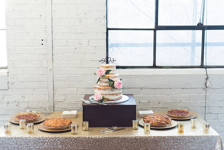 Dessert Table Pies Naked Cake Romantic Industrial Studio Loft Georgia Wedding http://krisandraevans.com/