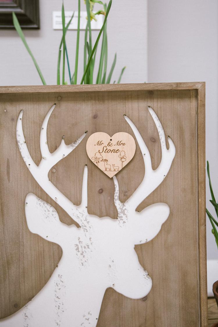Deer Wood Frame Details Decor Easter Spring Woodland Wedding http://emmastonerweddings.com/