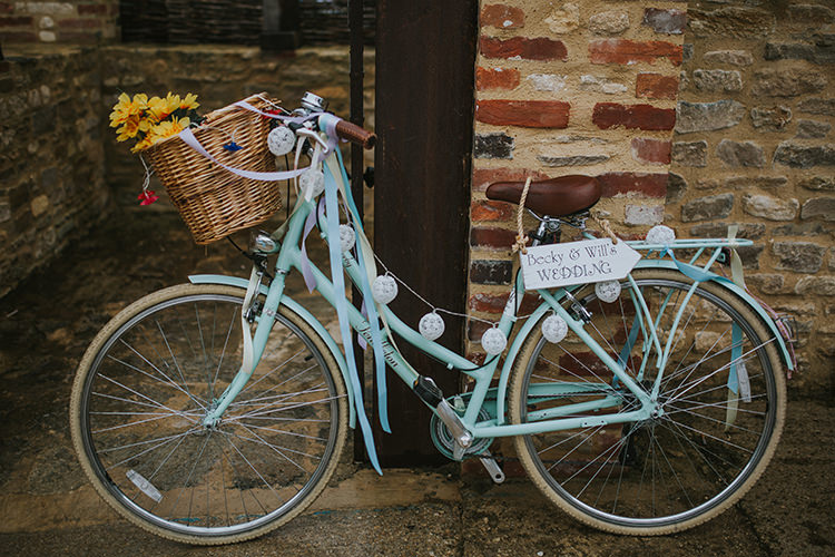 Bicycle Decor Sign Welcome Colourful Quirky Down To Earth Wedding http://jenmarino.com/