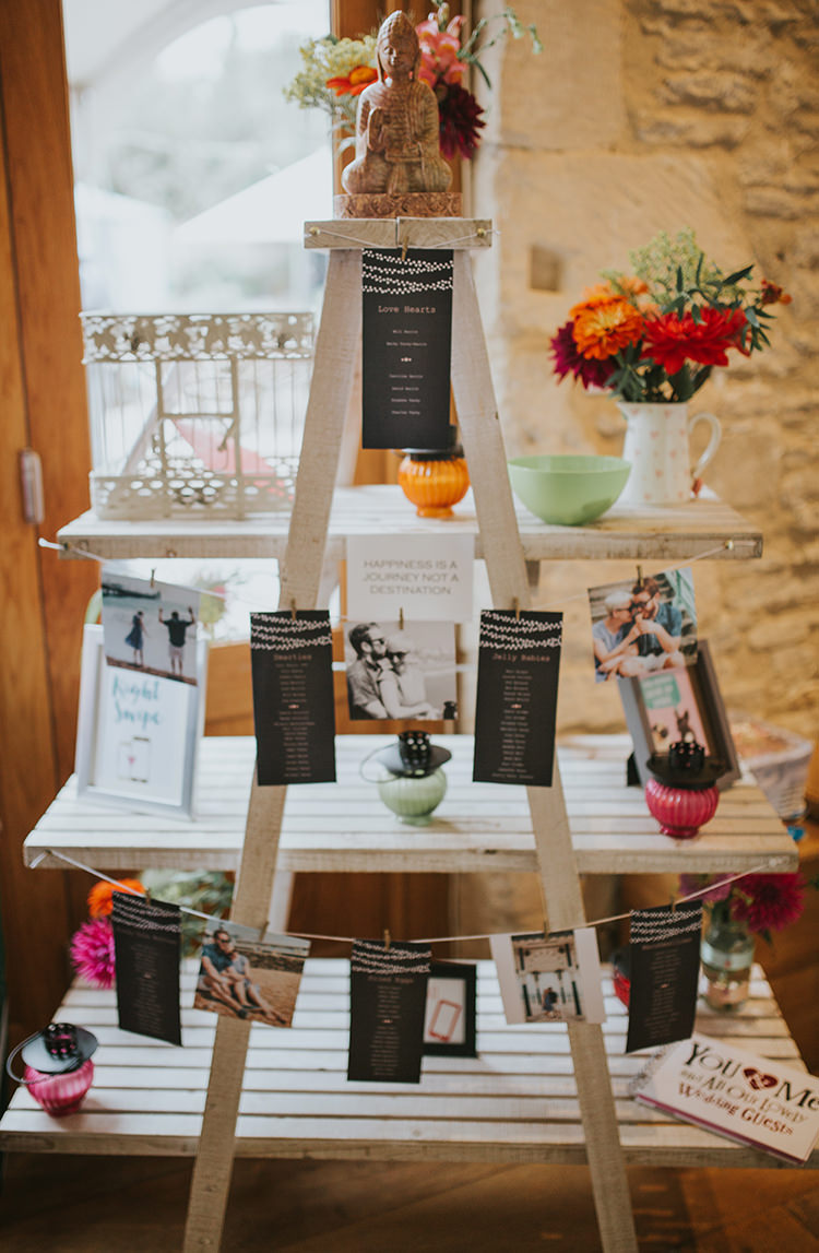 Ladder Seating Plan Table Chart Flowers Decor Colourful Quirky Down To Earth Wedding http://jenmarino.com/