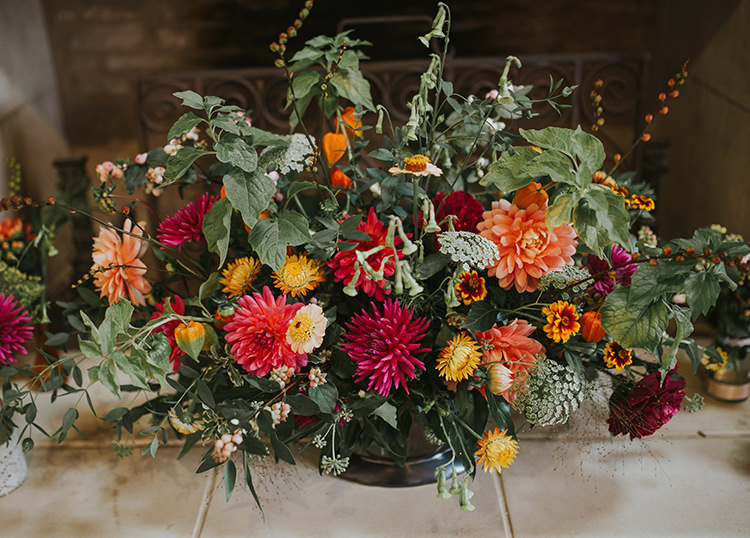 Vase Urn Flowers Red Orange Dahlia Autumn Arrangement Decor Colourful Quirky Down To Earth Wedding http://jenmarino.com/